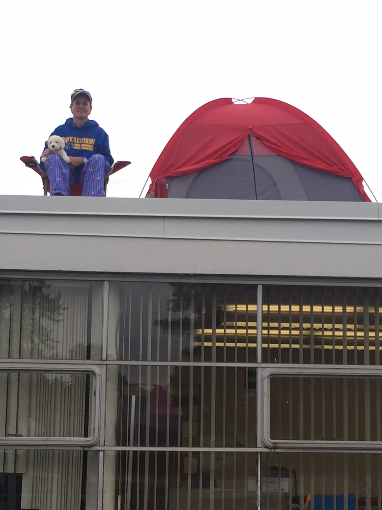 Prinicipal Cantwell spends the night on the roof of Royalview!
