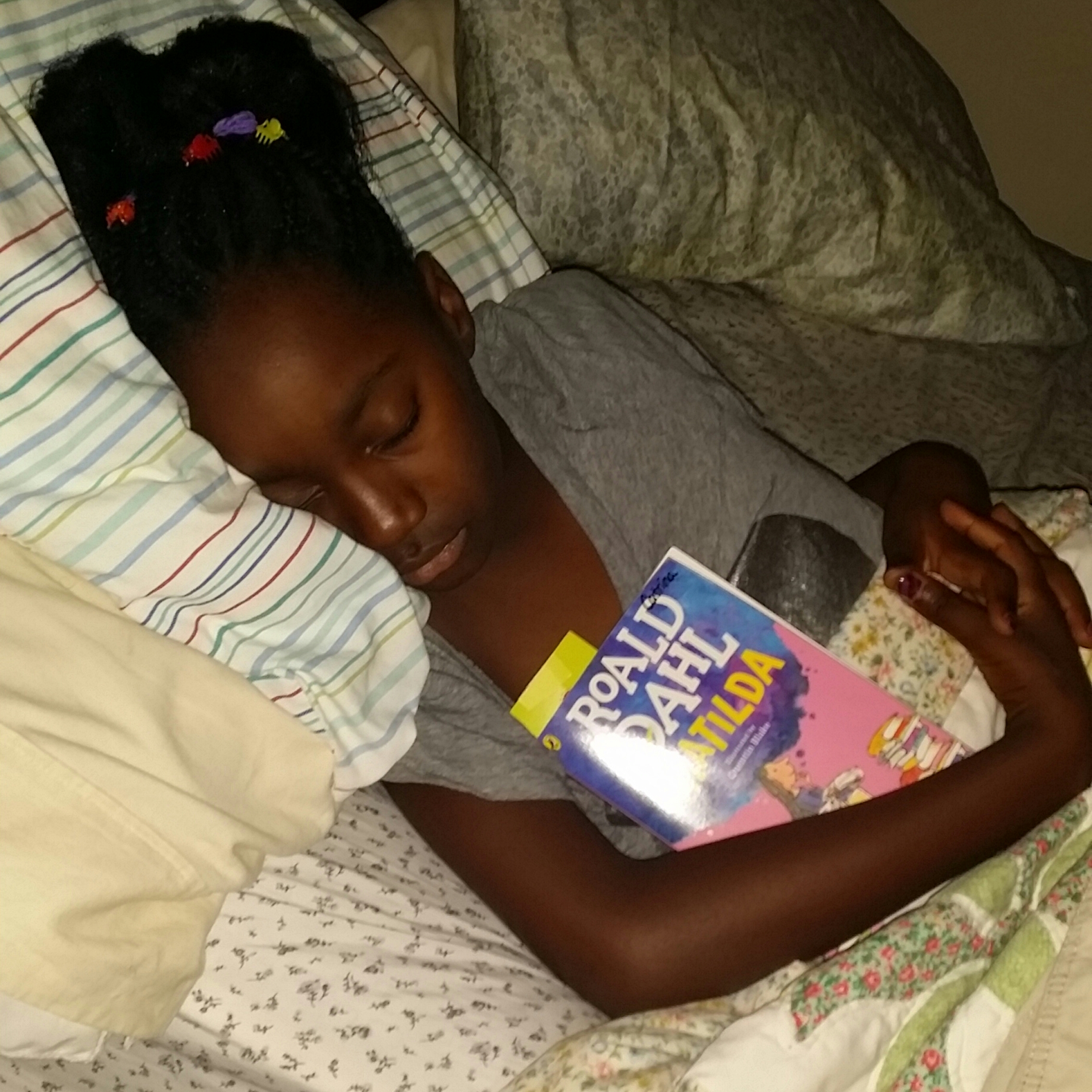She read her book until she fell asleep!