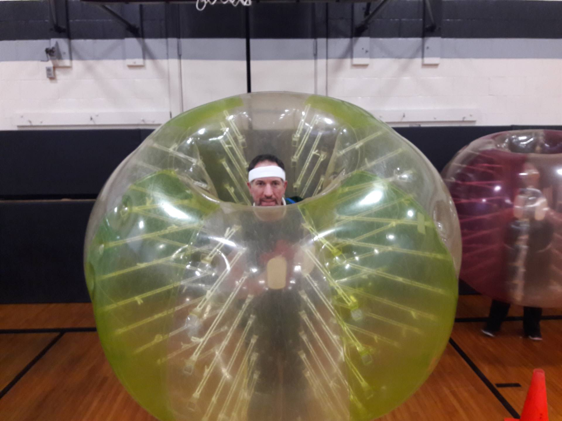 Mr. Grabski ready for some Bubble Ball Soccer