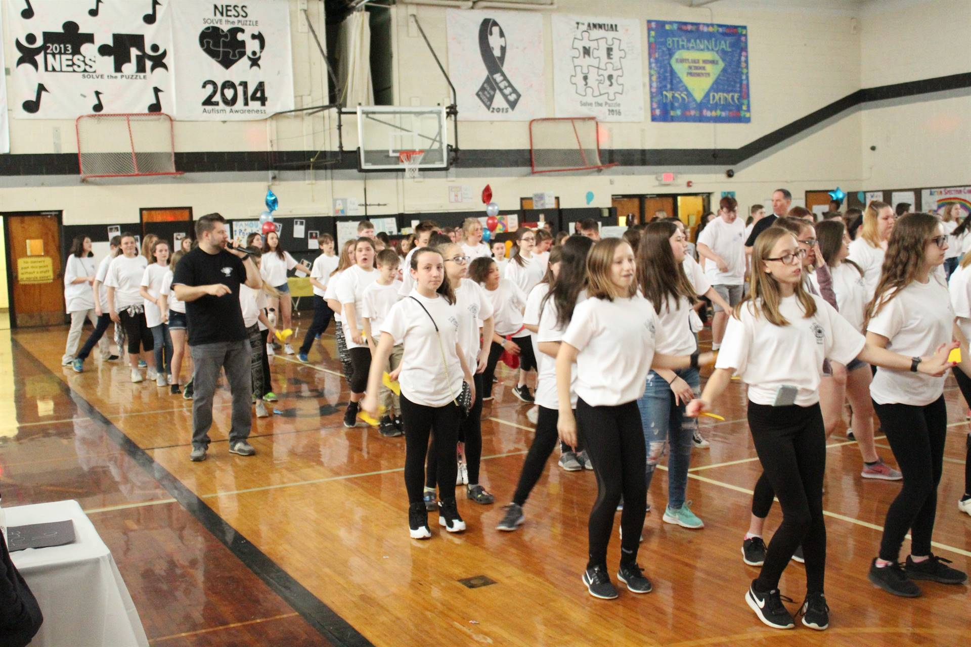 Mr. Hagan Leading the NESS Dancers in the 2018 Line Dance